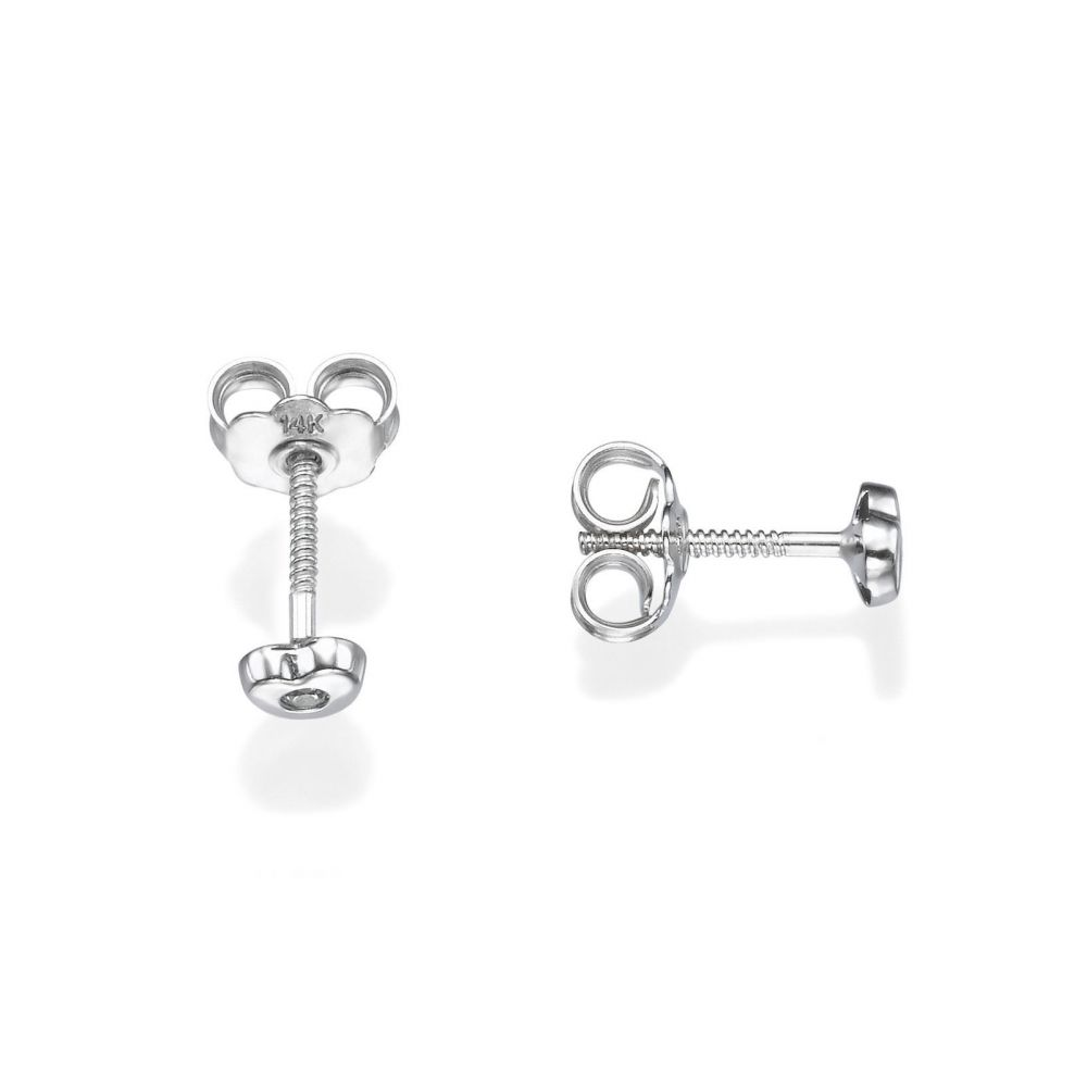 Girl's Jewelry | 14K White Gold Kid's Stud Earrings - Sparkling Heart - Small