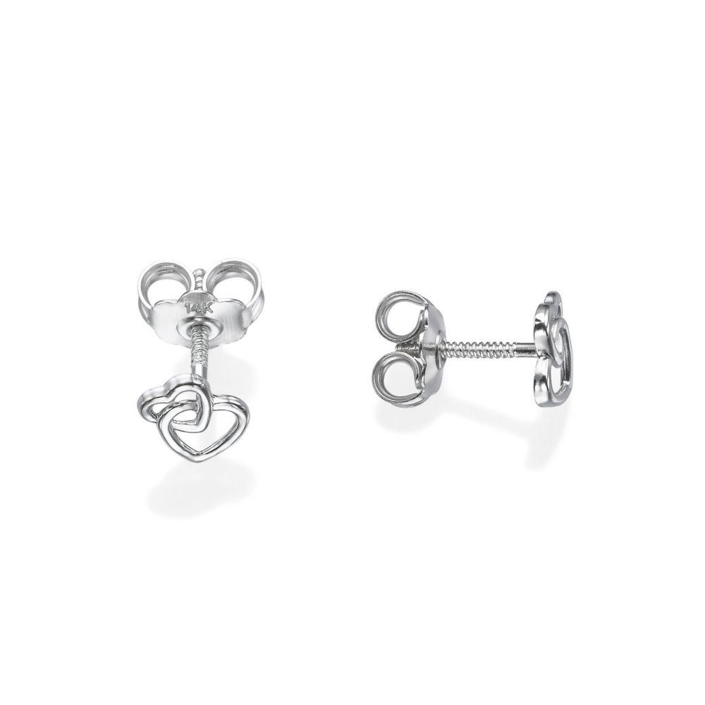 Girl's Jewelry | Stud Earrings in 14K White Gold - United Hearts