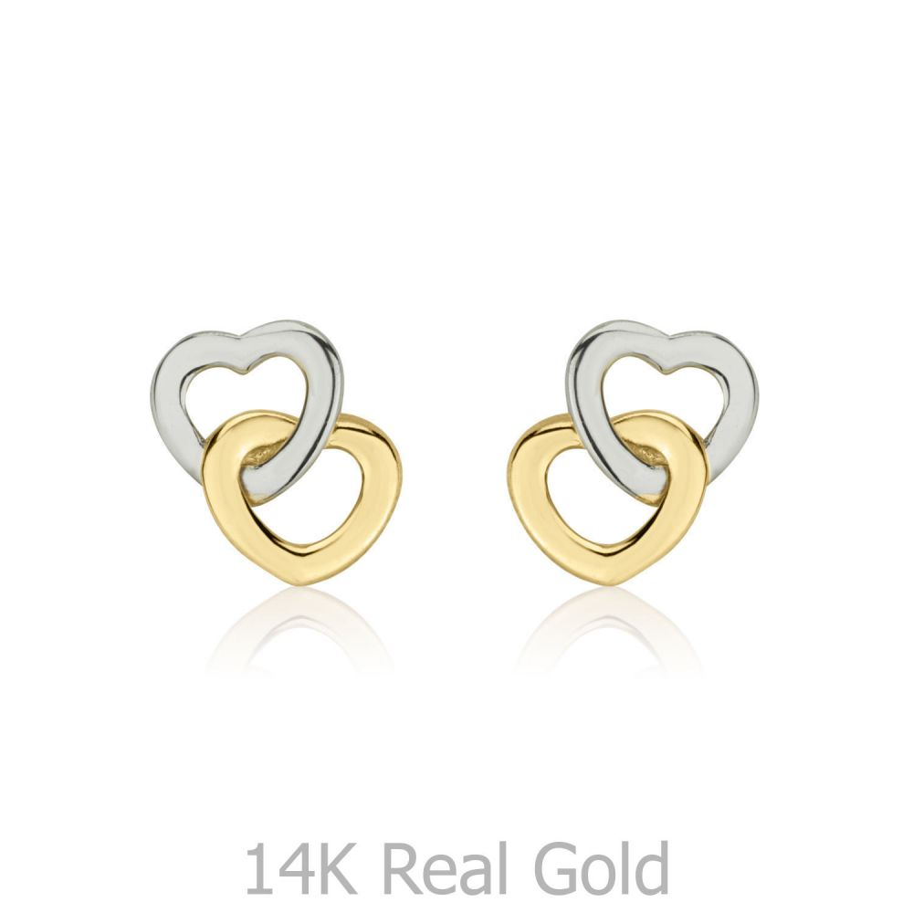 Girl's Jewelry | Gold Stud Earrings -  Hearts Intertwined