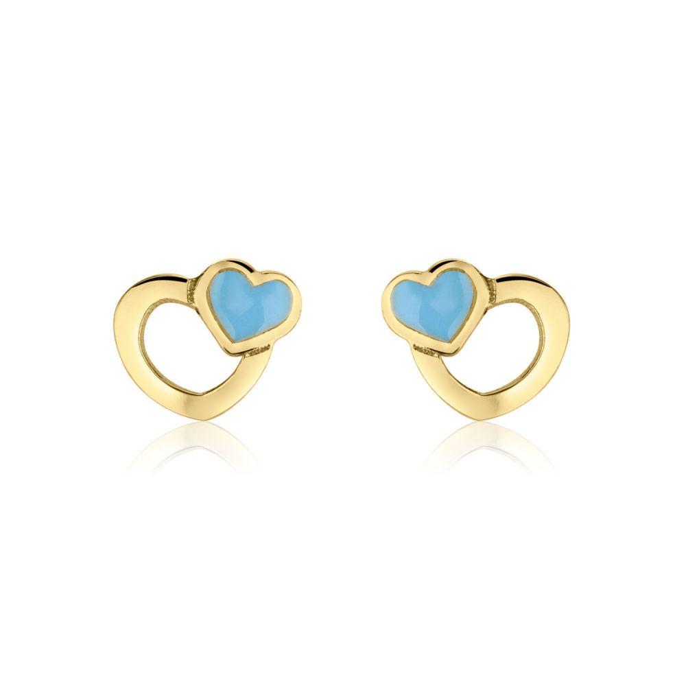 Girl's Jewelry | Gold Stud Earrings -  Beloved Hearts