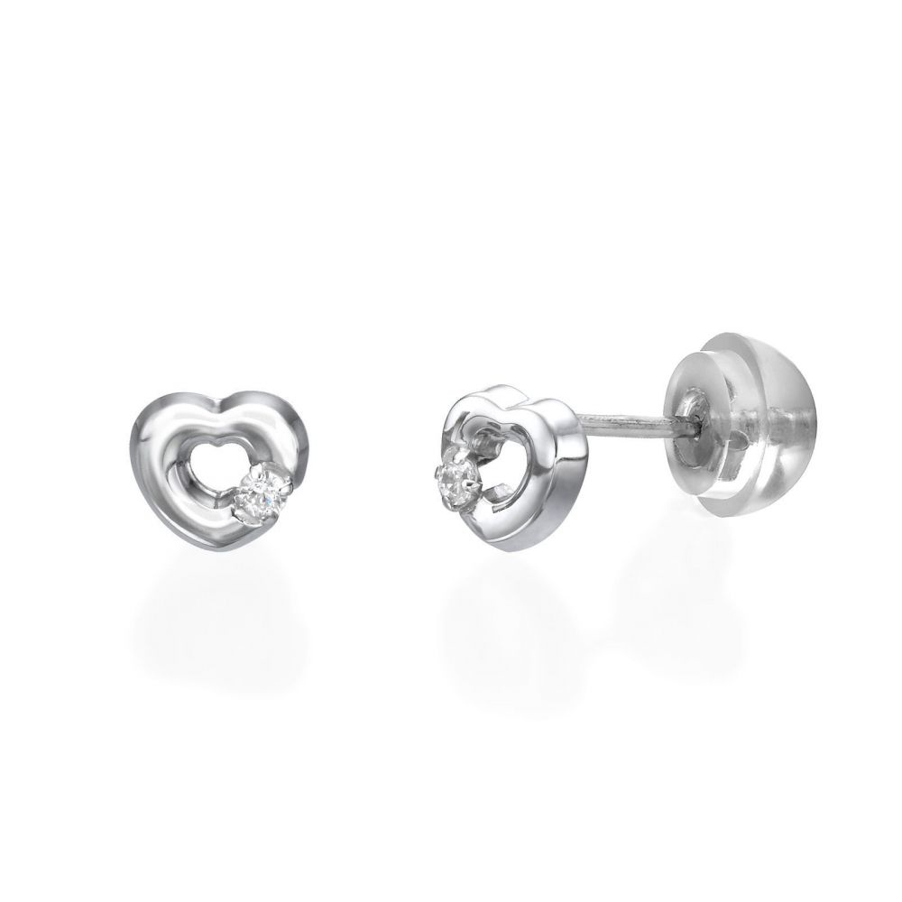 Girl's Jewelry | Stud Earrings in 14K White Gold - Symphonic Heart