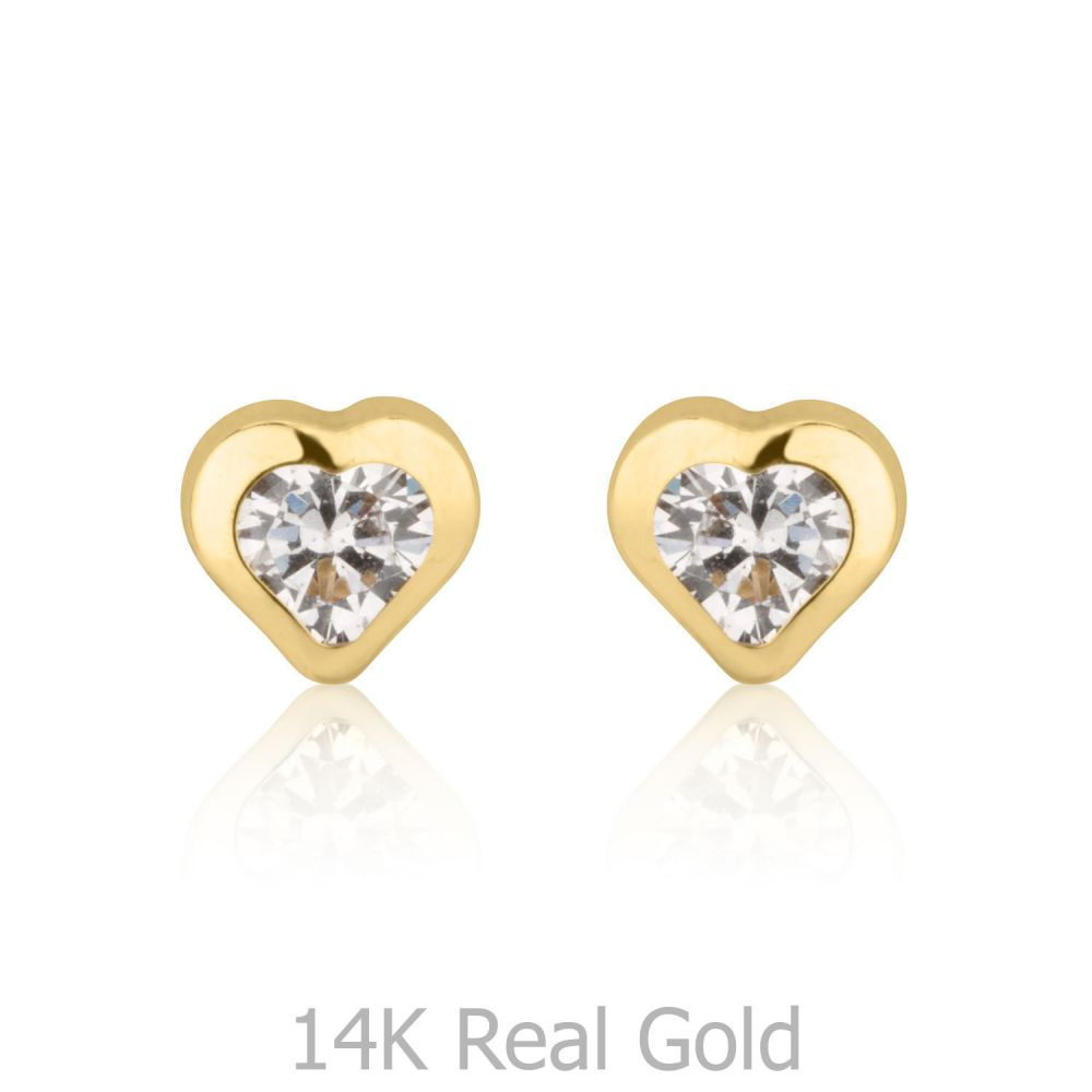 Girl's Jewelry | Gold Stud Earrings -  Thrilling Heart