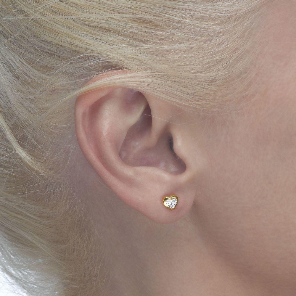 Girl's Jewelry | 14K Yellow Gold Kid's Stud Earrings - Thrilling Heart