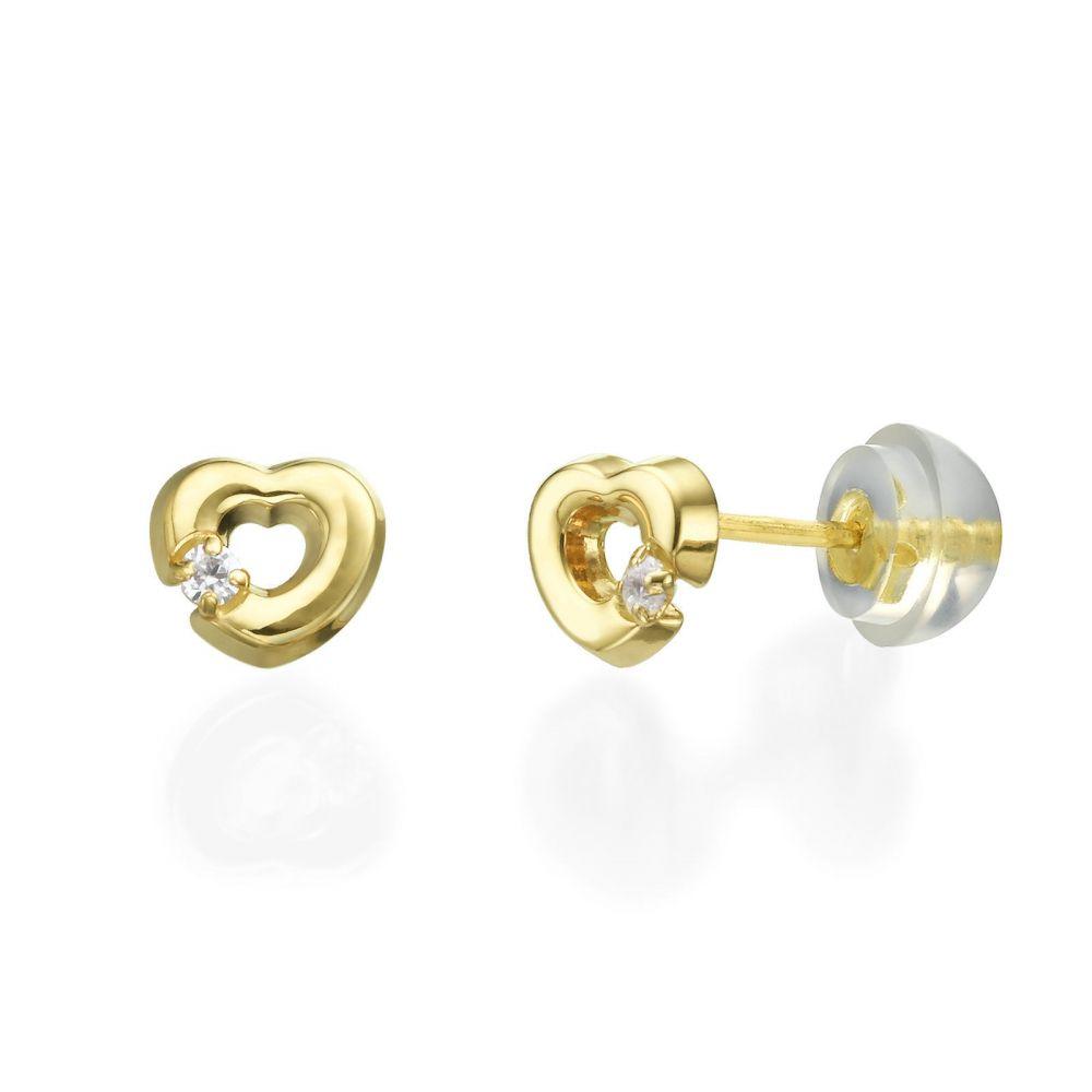 Girl's Jewelry | 14K Yellow Gold Kid's Stud Earrings - Cheerful Heart