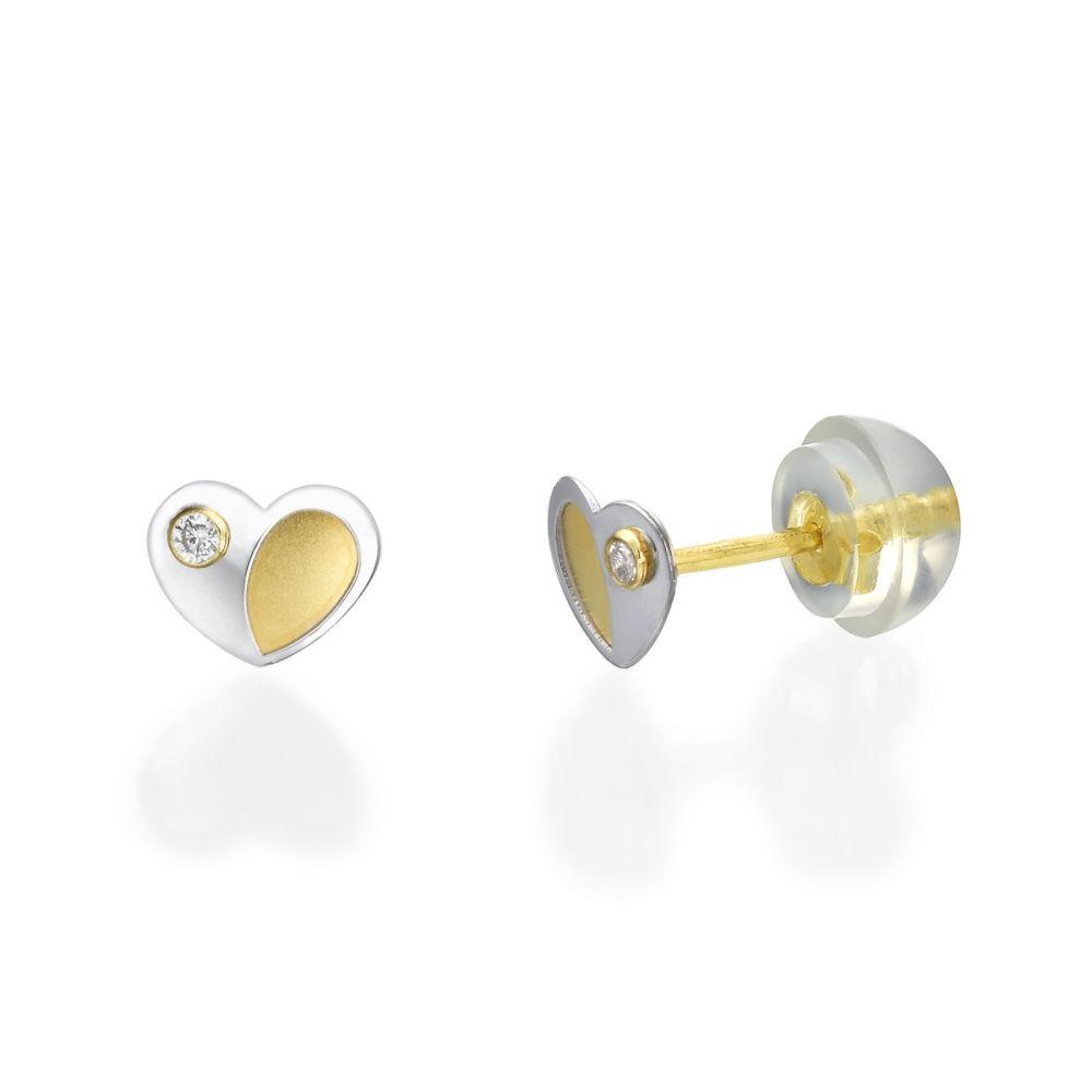 Girl's Jewelry   Stud Earrings in 14K White & Yellow Gold - Duo Heart