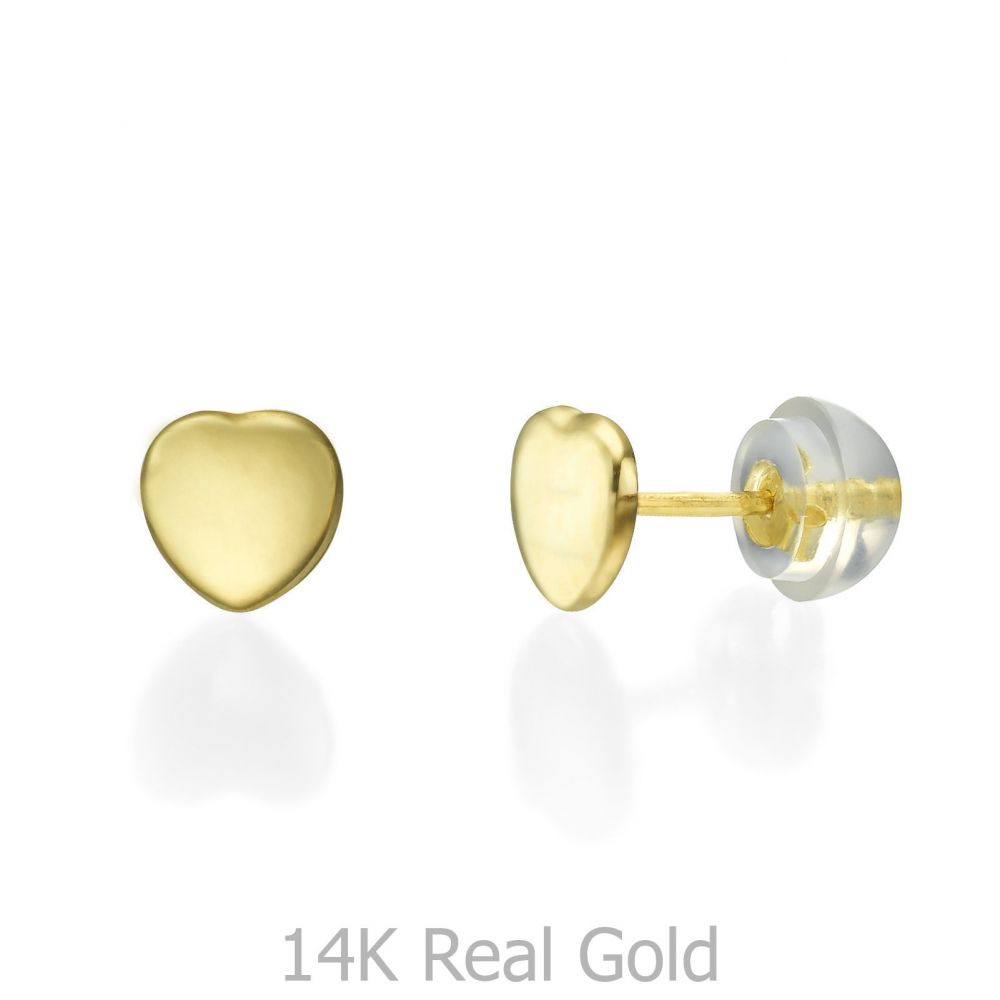 Girl's Jewelry | Stud Earrings in 14K Yellow Gold - Classic Plan Heart