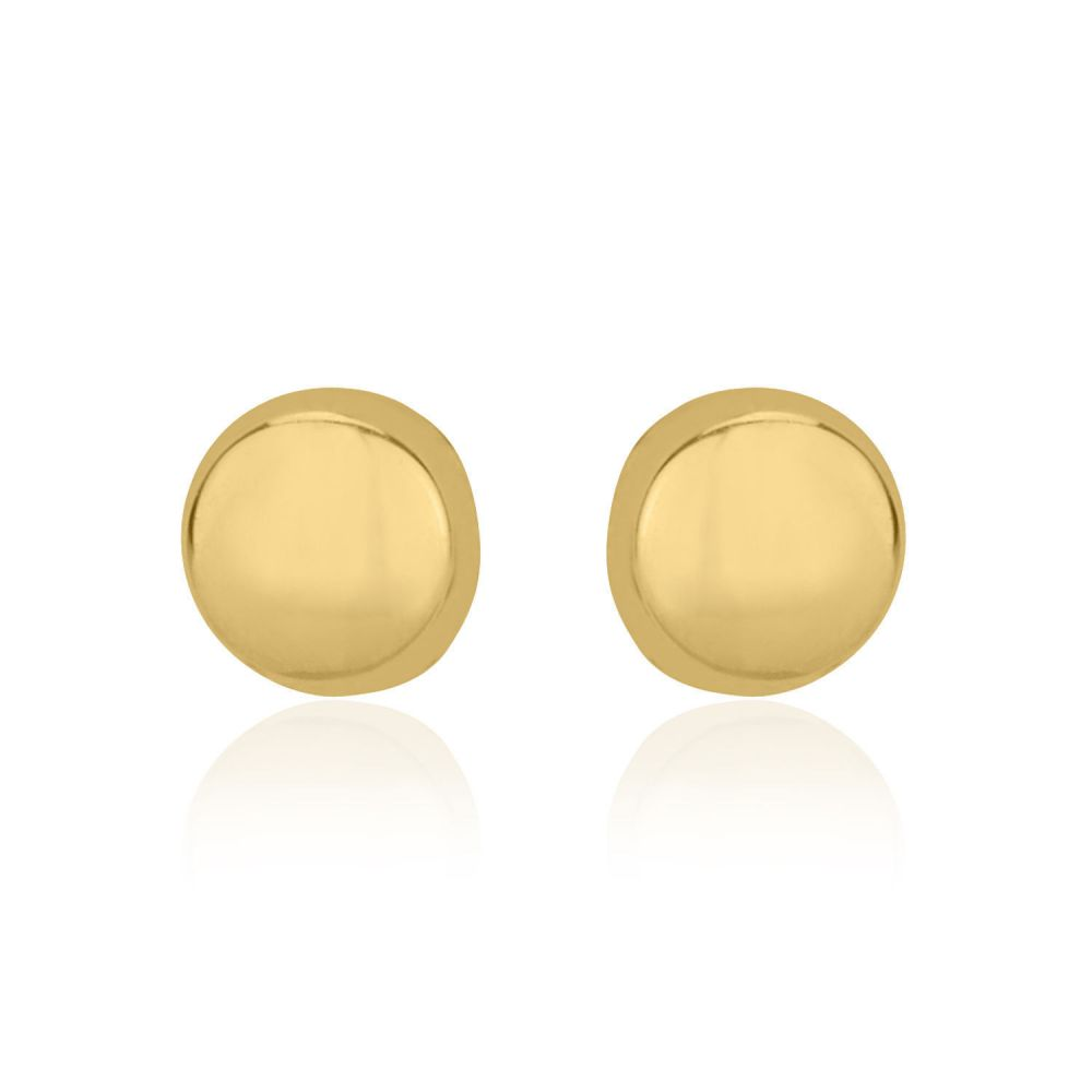 Girl's Jewelry | Stud Earrings in 14K Yellow Gold - Classic Circle - Large