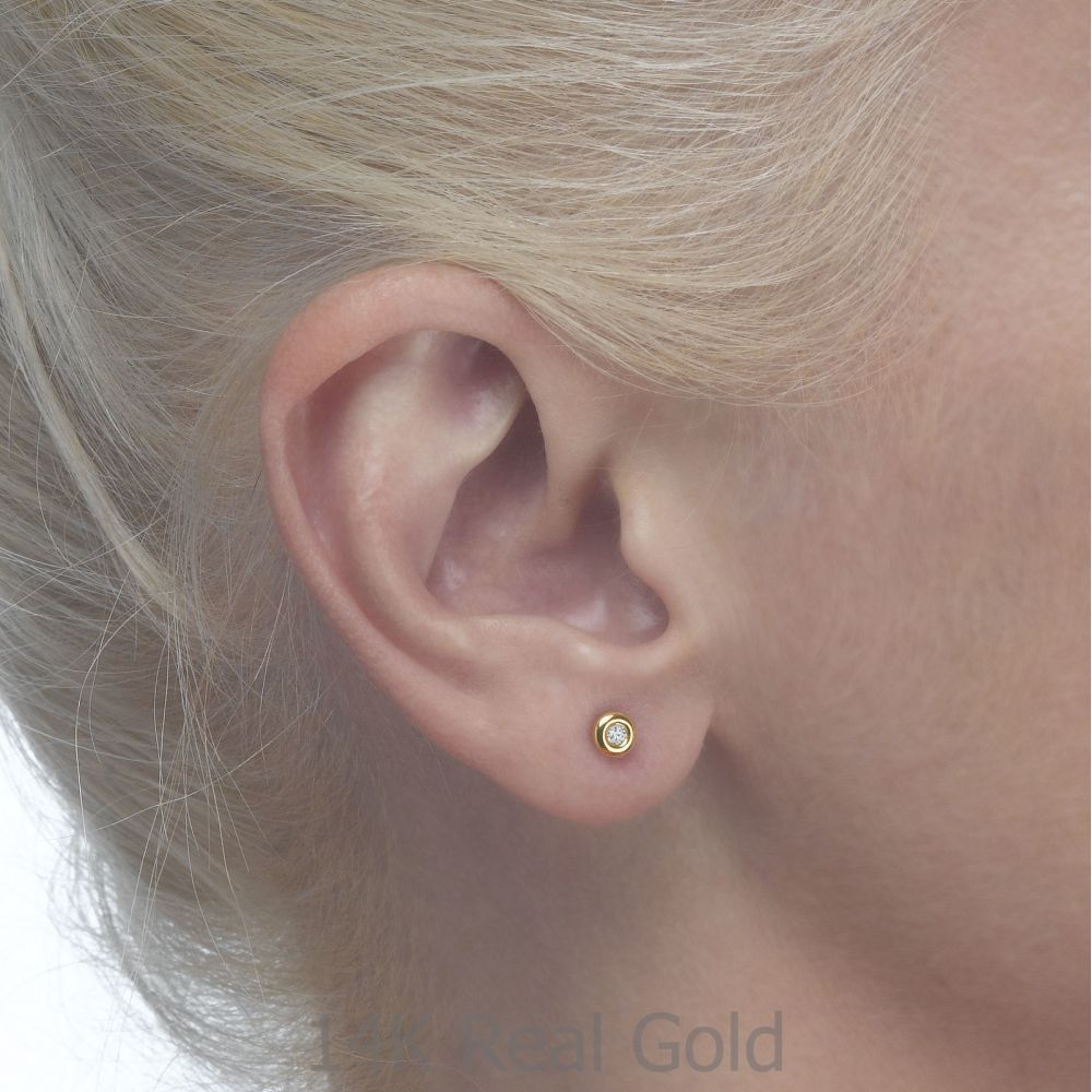 Girl's Jewelry | Stud Earrings in 14K Yellow Gold - Circle of Splendor - Large