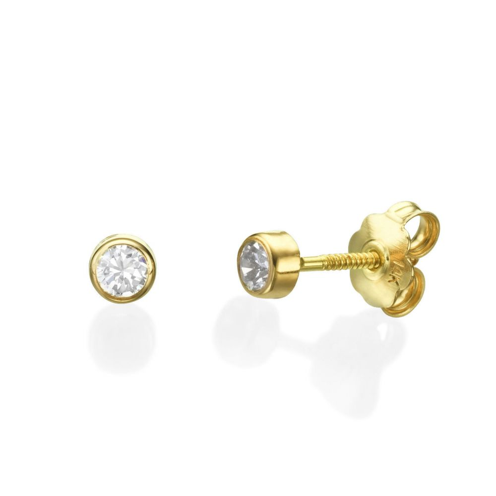 Girl's Jewelry | 14K Yellow Gold Kid's Stud Earrings - Majestic Circle