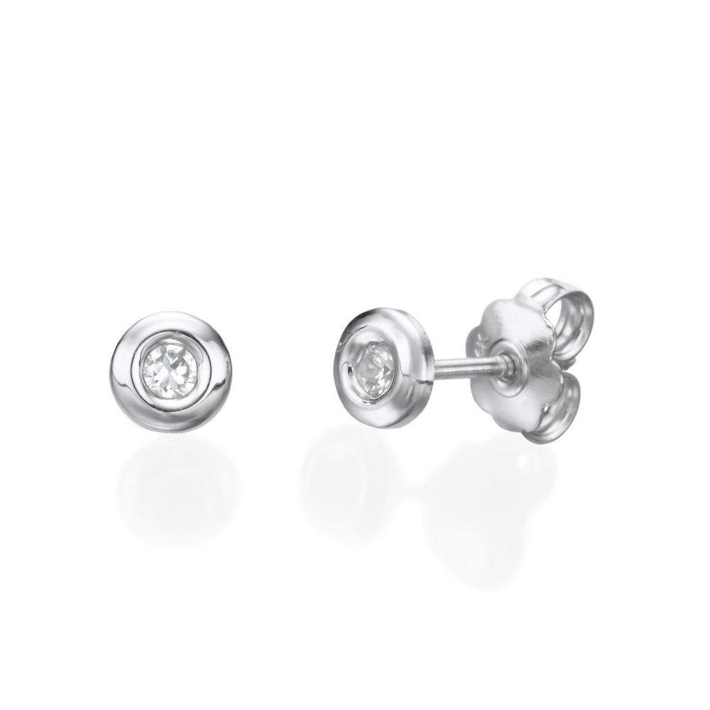 Girl's Jewelry | 14K White Gold Kid's Stud Earrings - Circle of Splendor - Large