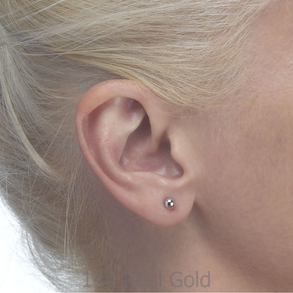 Girl's Jewelry | Stud Earrings in 14K White Gold - Classic Circle