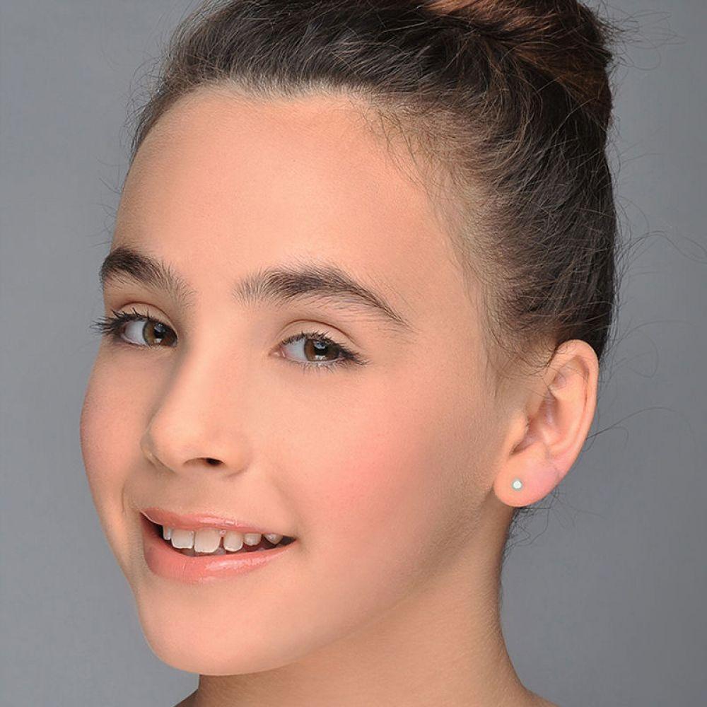 Girl's Jewelry   14K White Gold Kid's Stud Earrings - Classic Circle
