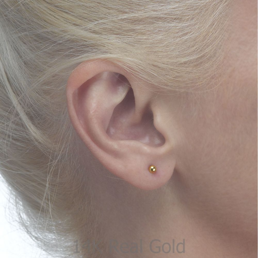 Girl's Jewelry | 14K Yellow Gold Kid's Stud Earrings - Classic Circle - Small