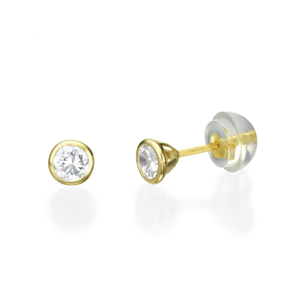 Girl's Jewelry | Stud Earrings in 14K Yellow Gold - Sparkling Circle - Delicate
