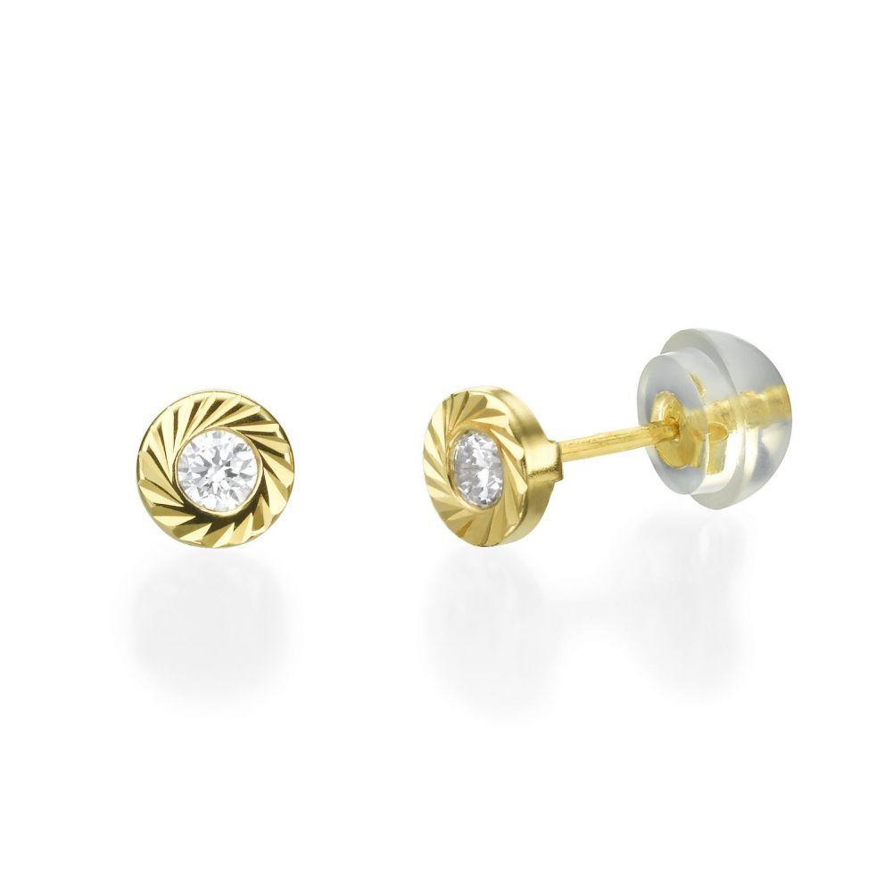 Girl's Jewelry | Stud Earrings in 14K Yellow Gold - Katia Circle