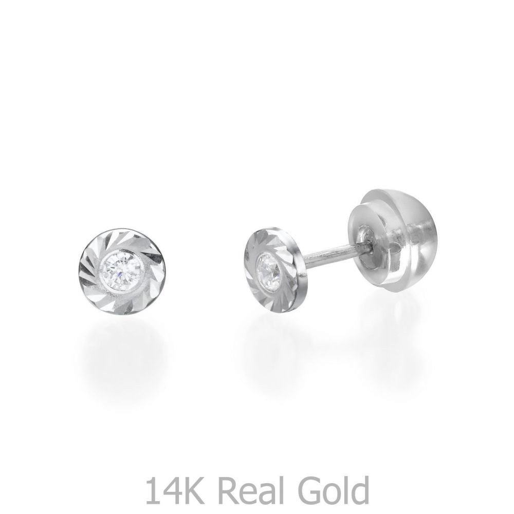 Girl's Jewelry | Stud Earrings in 14K White Gold - Katia Circle - Small