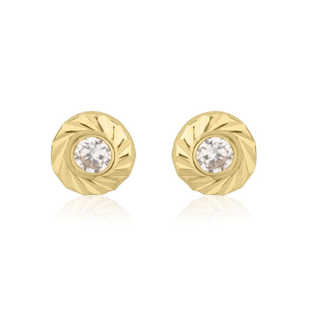 Girl's Jewelry | Stud Earrings in 14K Yellow Gold - Katia Circle - Small