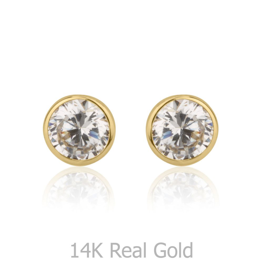 Girl's Jewelry | Stud Earrings in 14K Yellow Gold - Circle of Monica - Small
