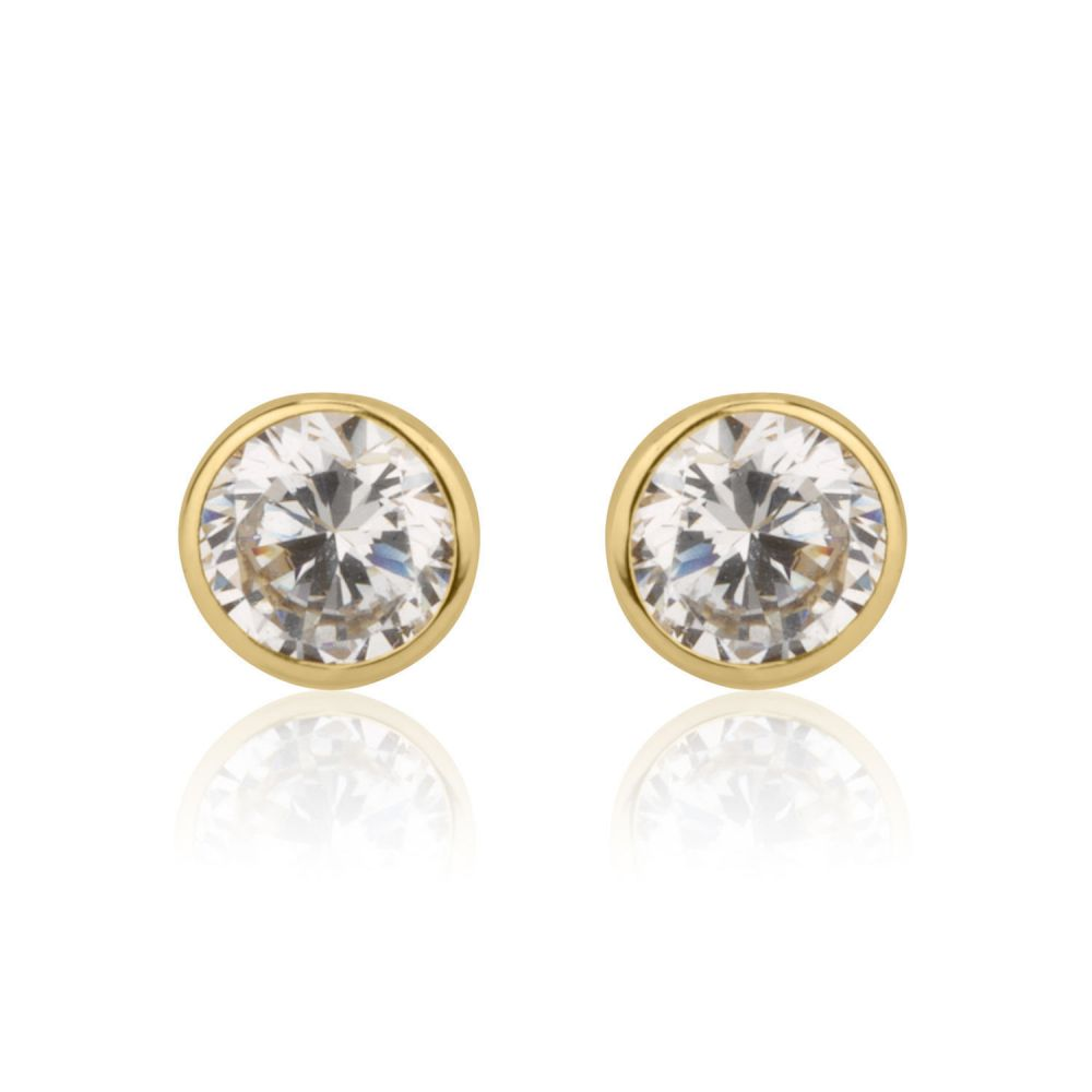 Girl's Jewelry | Gold Stud Earrings -  Circle of Monica - Small