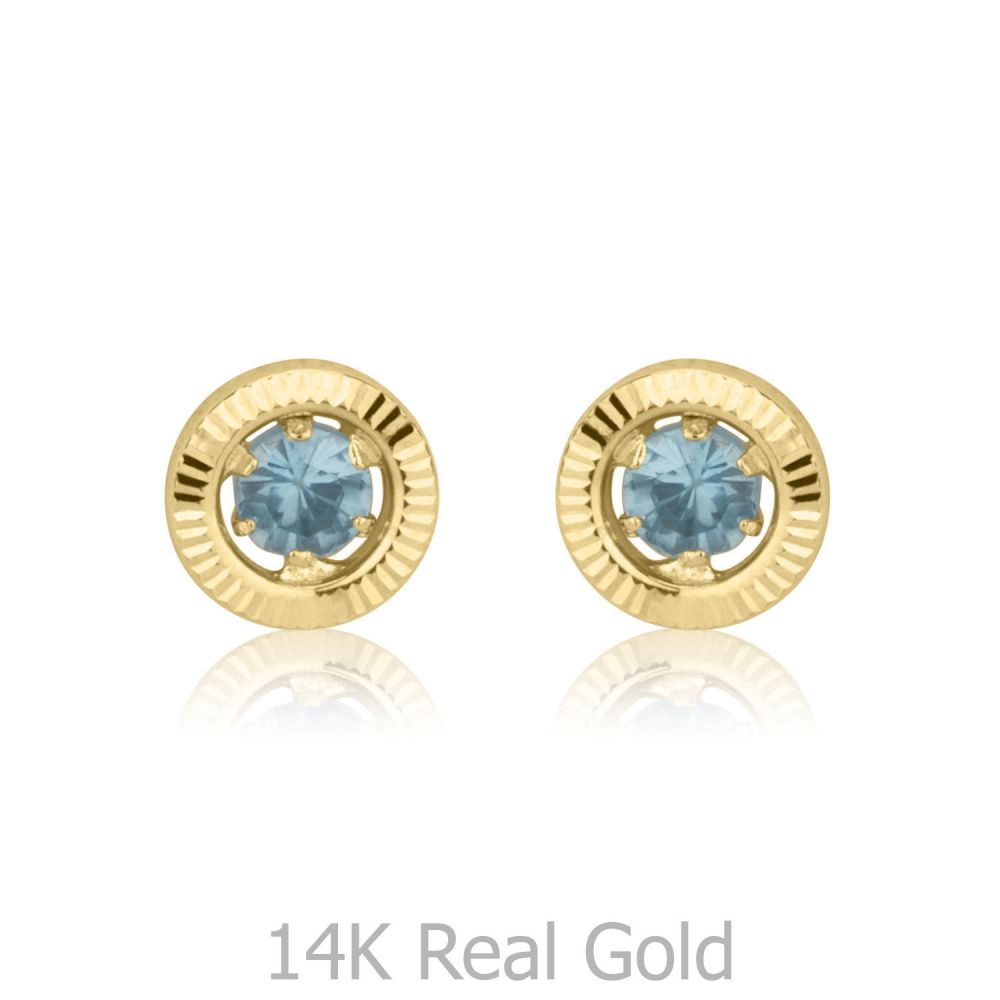 Girl's Jewelry | 14K Yellow Gold Kid's Stud Earrings - Topaz Circle - Small