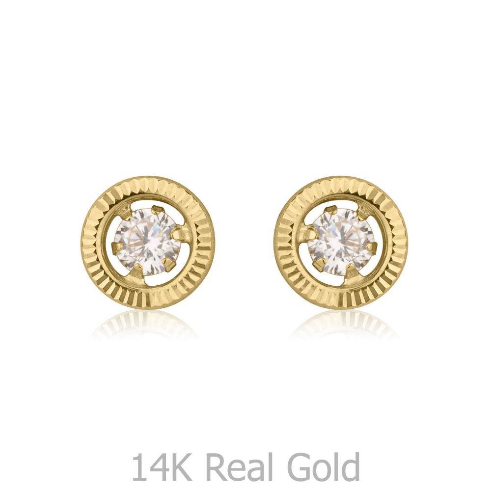 Girl's Jewelry | Stud Earrings in 14K Yellow Gold - Crystal Circle - Small