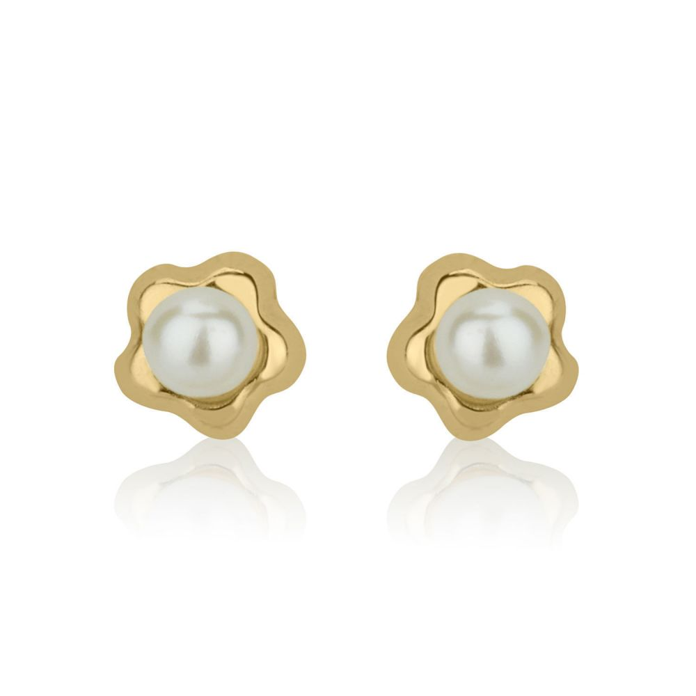 Girl's Jewelry | 14K Yellow Gold Kid's Stud Earrings - Flowering Pearl - Small