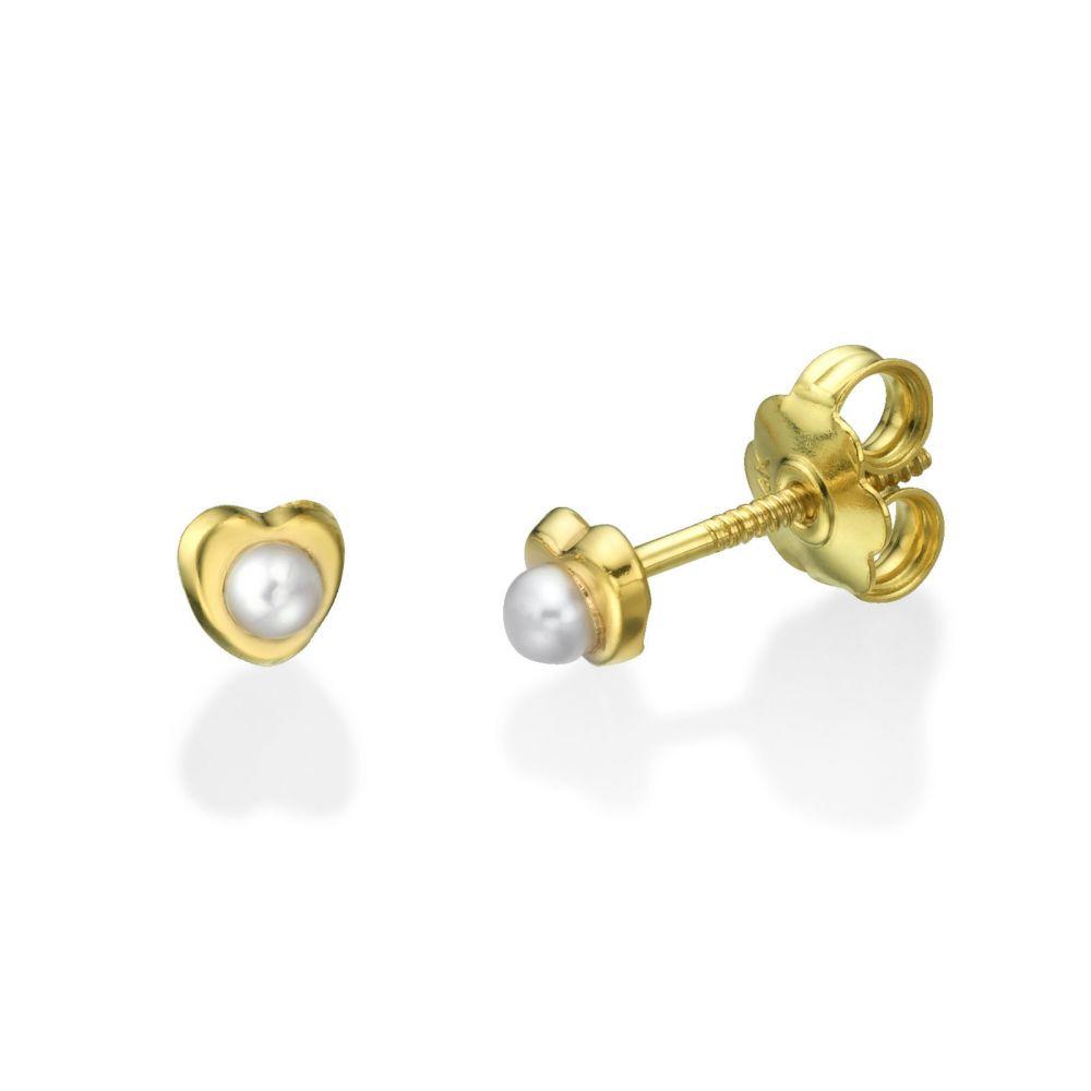 Girl's Jewelry | Stud Earrings in 14K Yellow Gold - Heartwarming Pearl - Small