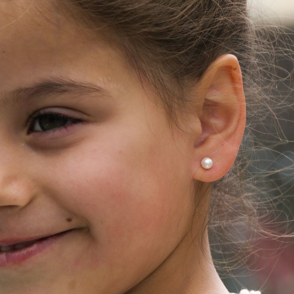 Girl's Jewelry | 14K Yellow Gold Kid's Stud Earrings - Button Pearl