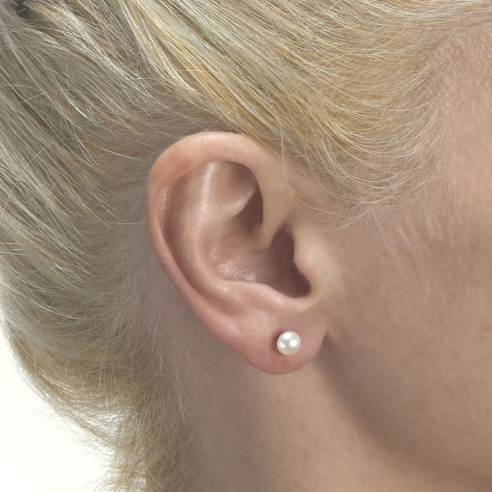 Girl's Jewelry | 14K White Gold Kid's Stud Earrings - Classic Pearl - Large