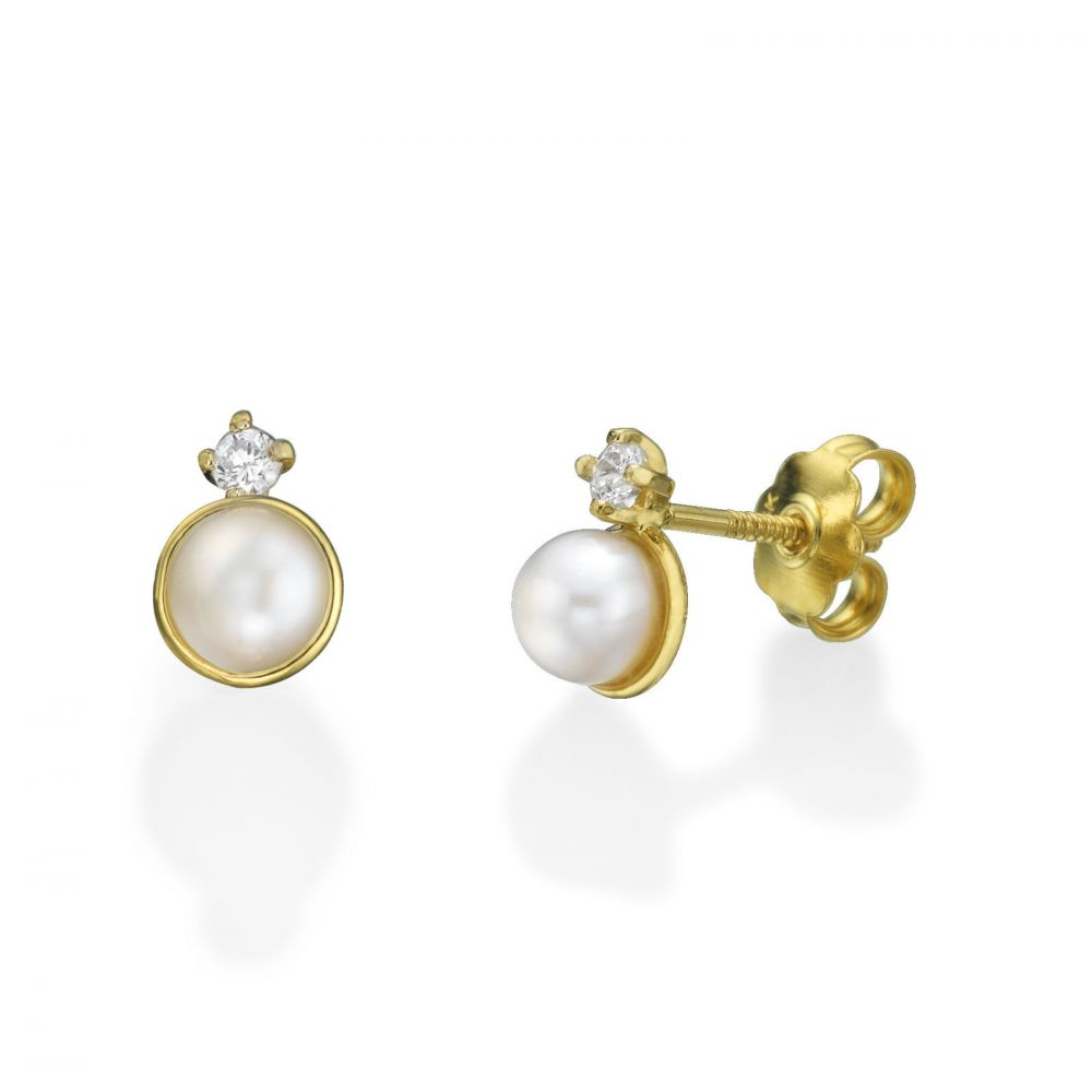 Girl's Jewelry | 14K Yellow Gold Kid's Stud Earrings - Pearl of Hugs and a Wink
