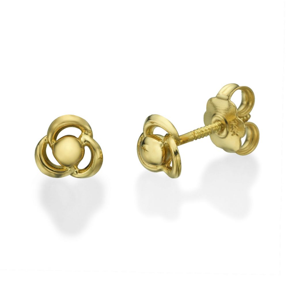 Girl's Jewelry | 14K Yellow Gold Kid's Stud Earrings - Flower of Milly