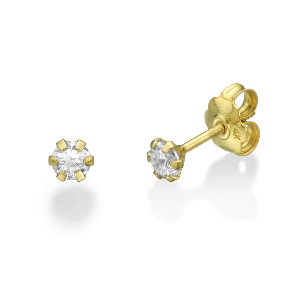 Girl's Jewelry | 14K Yellow Gold Kid's Stud Earrings - Flower of Helena