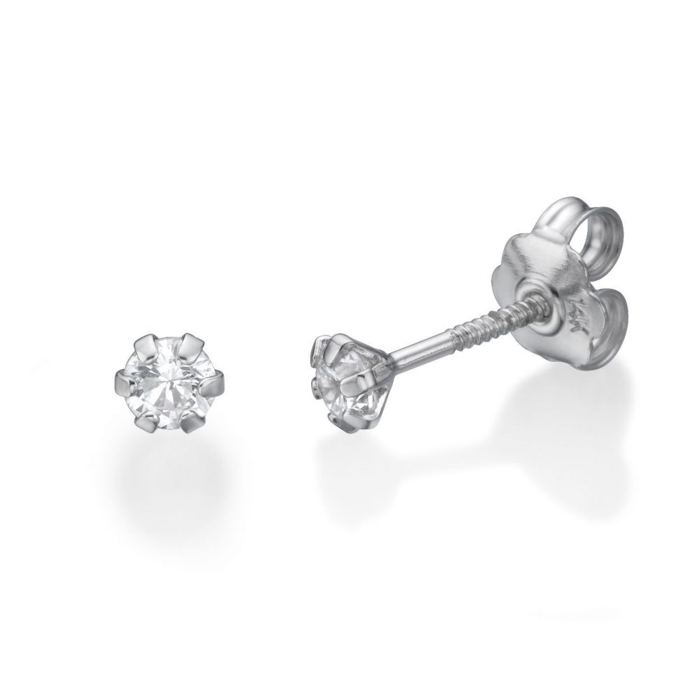 Girl's Jewelry | Stud Earrings in 14K White Gold - Flower of Alice