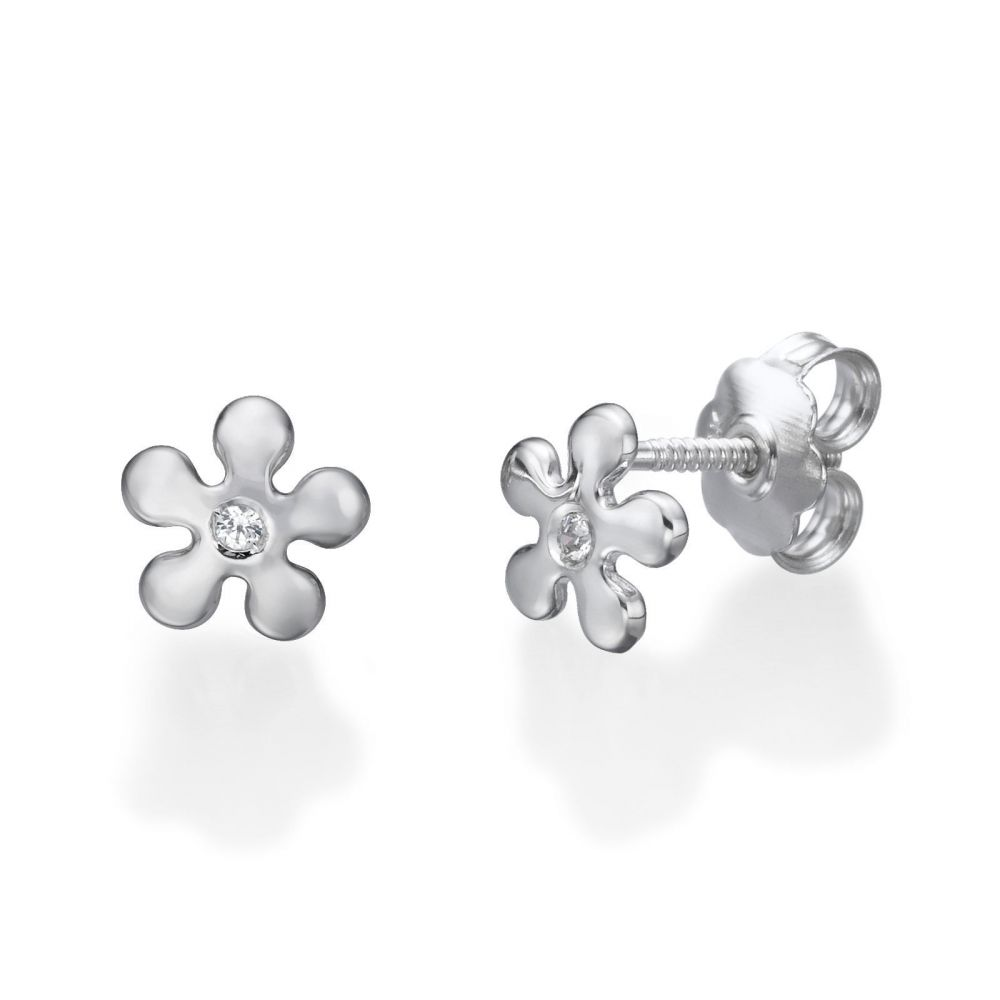 Girl's Jewelry | Stud Earrings in 14K White Gold - Flower of Michelle