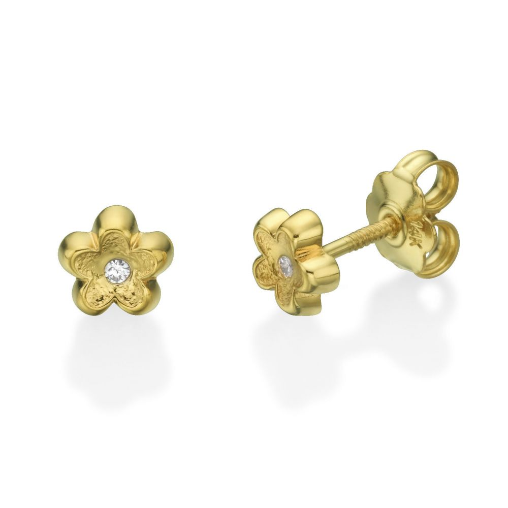 Girl's Jewelry | Stud Earrings in 14K Yellow Gold - Flower of Barbara