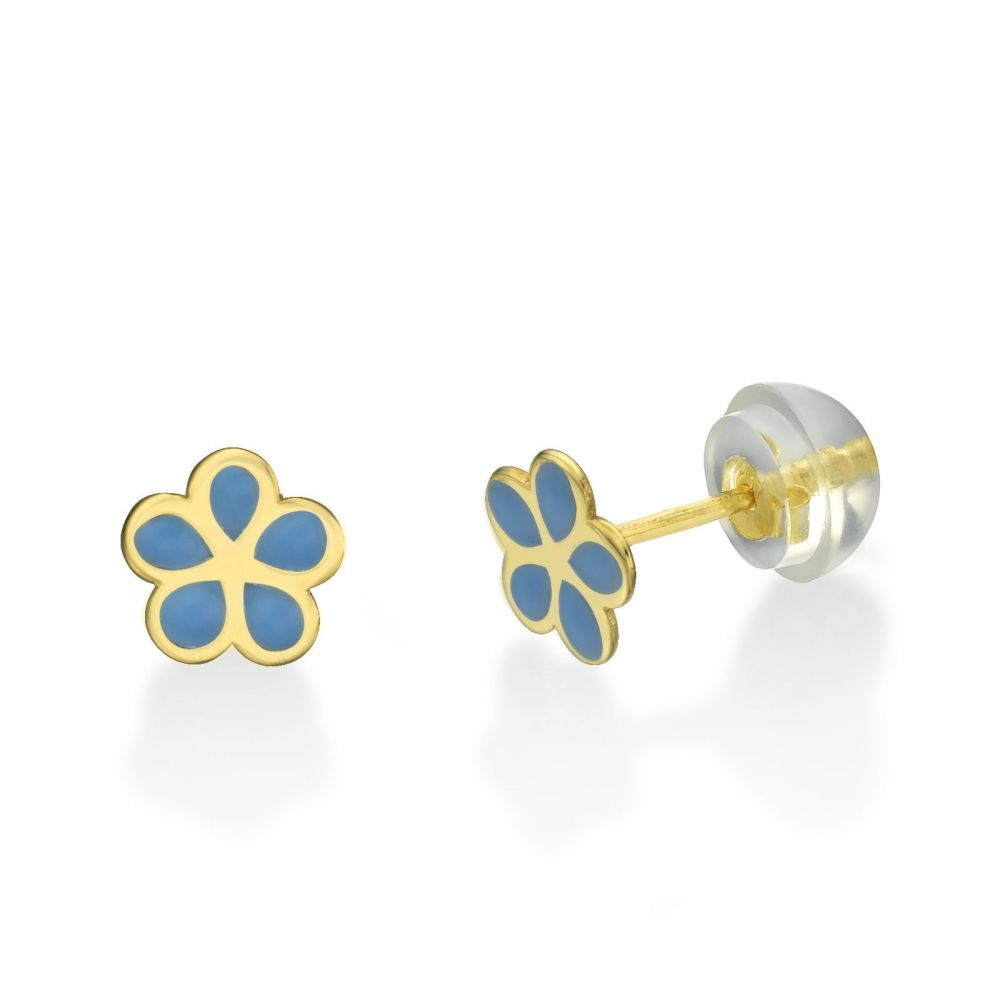 Girl's Jewelry | 14K Yellow Gold Kid's Stud Earrings - Flowering Daisy - Blue