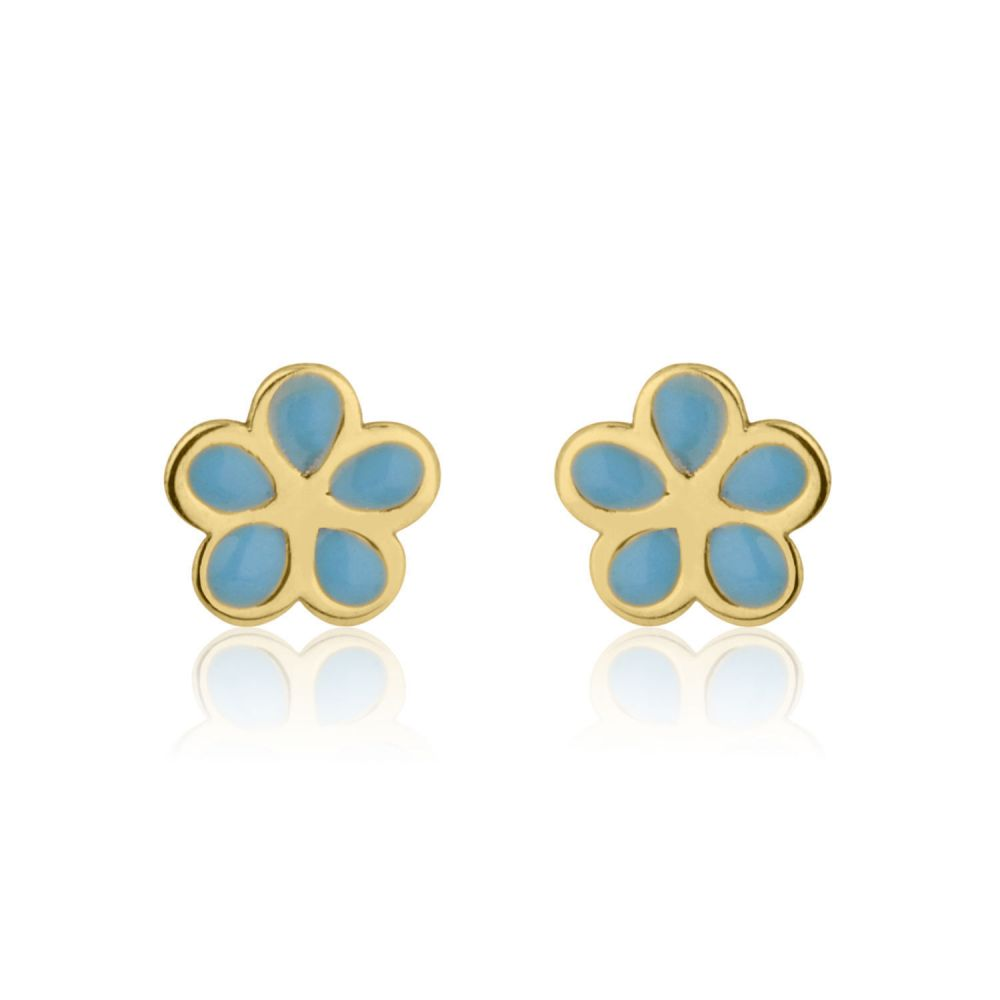 Girl's Jewelry | Gold Stud Earrings -  Flowering Daisy - Blue