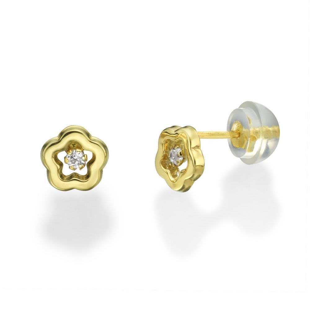 Girl's Jewelry | Stud Earrings in 14K Yellow Gold - Spring Flower
