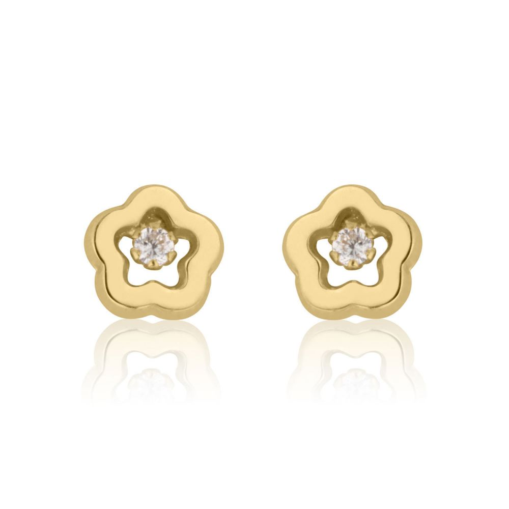 Girl's Jewelry | 14K Yellow Gold Kid's Stud Earrings - Spring Flower