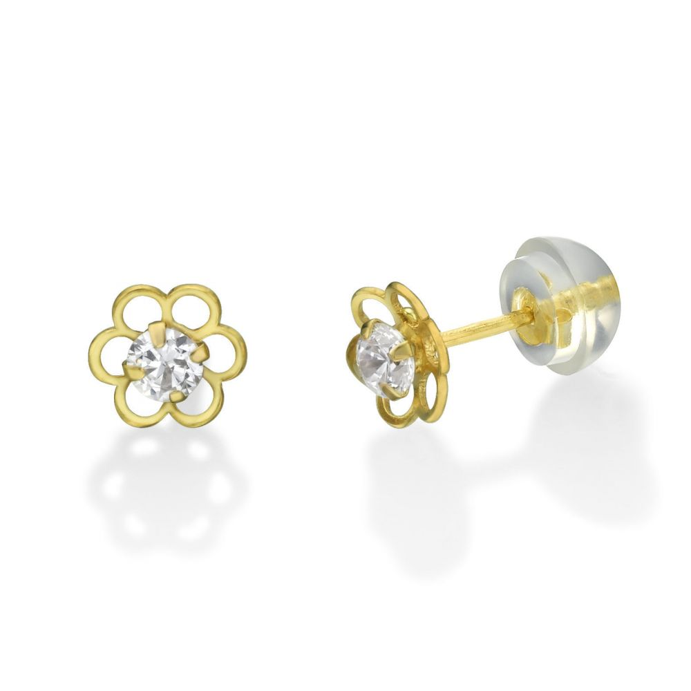 Girl's Jewelry | 14K Yellow Gold Kid's Stud Earrings - Flower of Florian - Large