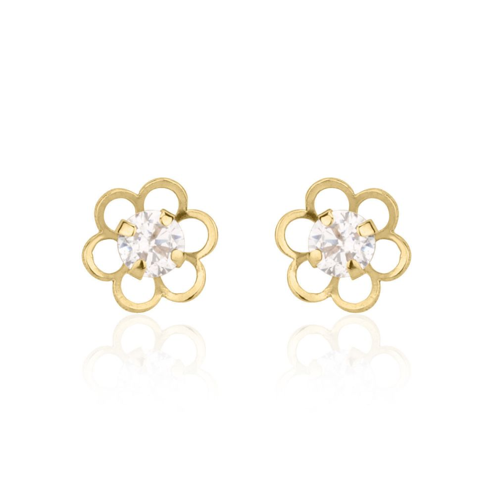 Girl's Jewelry | Stud Earrings in 14K Yellow Gold - Flower of Florian - Large