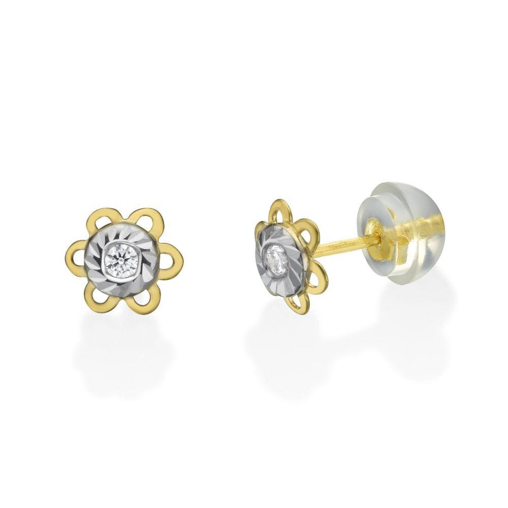 Girl's Jewelry | Gold Stud Earrings -  Golden Daisy Flower