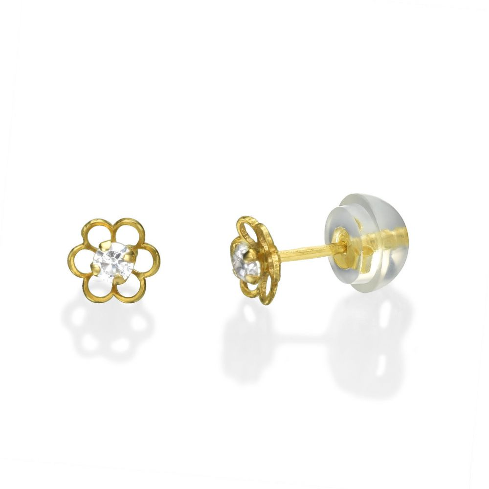 Girl's Jewelry | 14K Yellow Gold Kid's Stud Earrings - Flower of Florian - Small