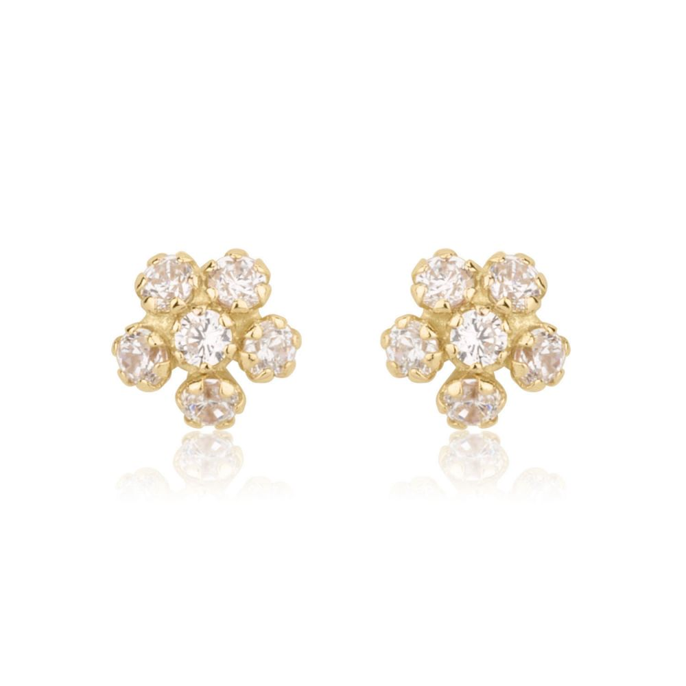 Girl's Jewelry | Stud Earrings in 14K Yellow Gold - Flower Extraordinaire