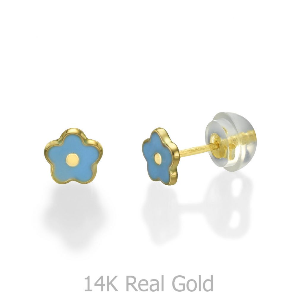 Girl's Jewelry | 14K Yellow Gold Kid's Stud Earrings - Bluebell Flower