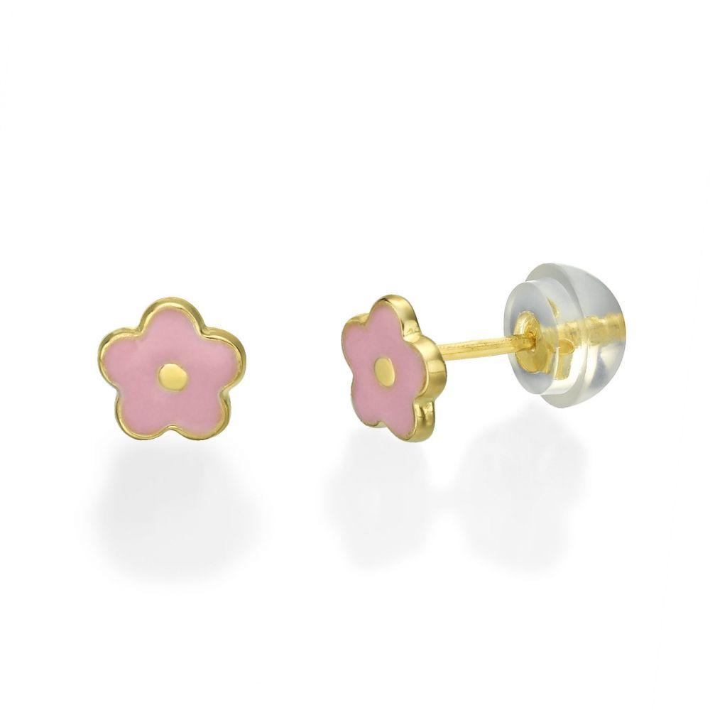 Girl's Jewelry | Gold Stud Earrings -  Lotus Flower