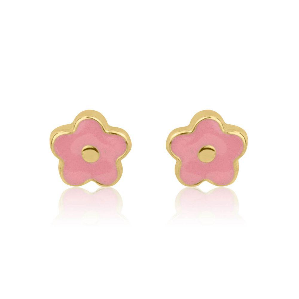 Girl's Jewelry | 14K Yellow Gold Kid's Stud Earrings - Lotus Flower