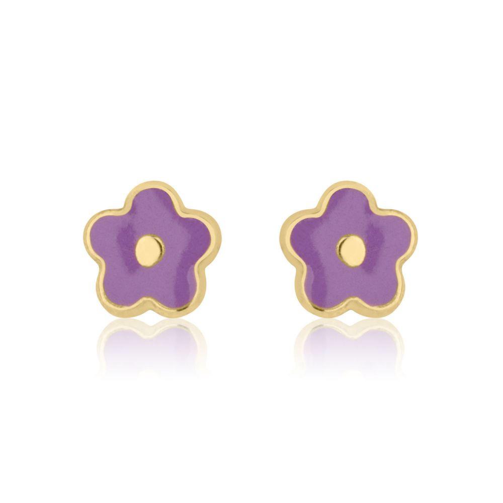 Girl's Jewelry | 14K Yellow Gold Kid's Stud Earrings - Lilac Flower