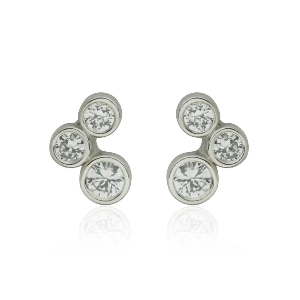 Girl's Jewelry | White Gold Stud Earrings -  Sparkling Circles