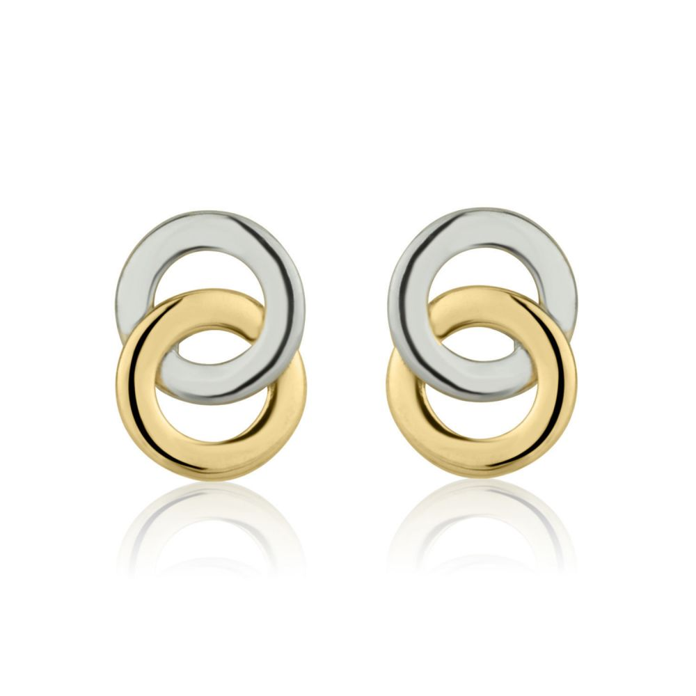 Girl's Jewelry | Stud Earrings in 14K White & Yellow Gold - Intertwining Circles